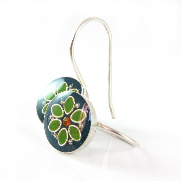 Flower earrings,  sterling silver and resin, pine green and leaves green  resin, colorful jewelry, gift for a women, under 40