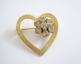 Vintage Gold Tone Heart and Rhinestone Pin