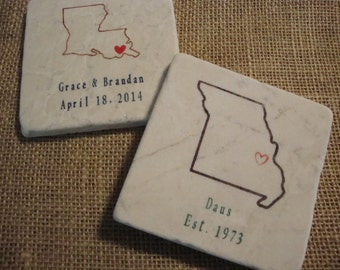 State Outline Personalized Coasters Tile Stone Wedding Favors Anniversary Party Favors Save the Date Drink Coasters, Set of 4 Louisiana