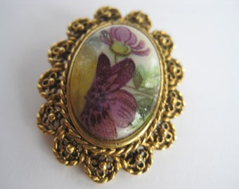Lovely Vintage Brooch Vintage Pin Gold Tone Purple Flowers Yellow White Green  Free Shipping