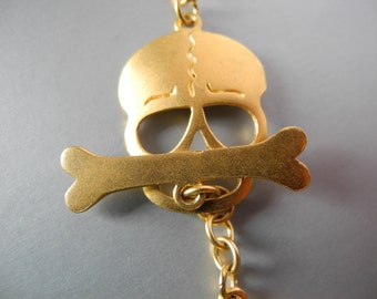 Gold Vermeil Skull Toggle Clasp Gold Vermeil Over Sterling Silver 27mm Goth Gothic