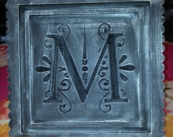 """18"""" Letter Monogram Plaque or Door Hanger Custom made and distressed painted Cottage Chic."""