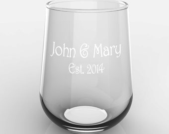 1 Personalized Family Established Name on Glass Stemless White or Red Wine Glass Custom Engraved