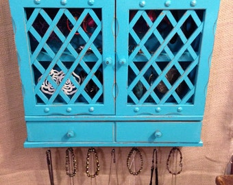 Upcycled Jewelry Holder Organizing Display Cabinet (Aqua)