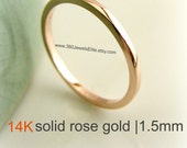 Solid Rose Gold Wedding Band, 14K Polished , Flat Square 1.5mm Stack Ring, Spacer Ring, Customized and Engraved Ring Available, Promotion