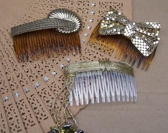 Vintage hair combs 3 Hollywood Regency gold tone mesh hair accessories hair barrette hair slide hair clip hair pin hair jewelry