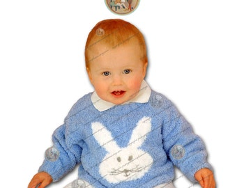 Bunny Head Sweater Ages 3 Months to 6 Years - Vintage English Knitting Pattern - Instant Download PDF - PrettyPatternsPlease