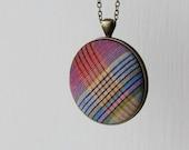 Vintage Fabric Necklace, Retro Jewelry, Retro Necklace, Quirky Necklace, Plaid Fabric Rainbow Jewelry Rainbow Necklace Colorful Stripes