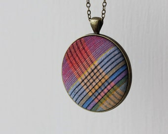 Vintage Fabric Necklace, Retro Jewelry, Retro Necklace, Quirky Necklace, Plaid Fabric Rainbow Jewelry Rainbow Necklace Colorful Stripes