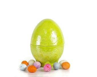 Vintage Ceramic Egg, Candy Container, Trinket Box, Easter Decor