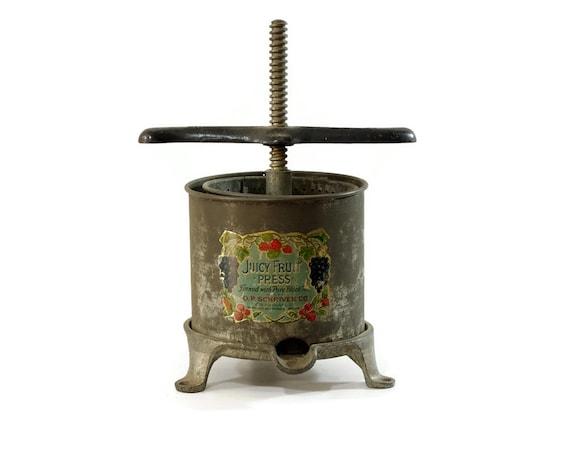 Antique Fruit Press Cast Iron Juicy Fruit O P By