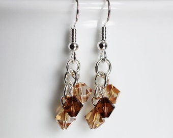 Preciosa crystal dangle earrings with topaz and espresso crystals
