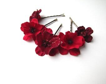 Red Flower Hair Pin, Glitter Bobby Pins Set of 5, Christmas Wedding