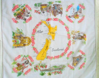 Souvenir Scarf. NEW ZEALAND Souvenir. Ladies Scarf. hand printed SCARF. Dandy Scarf. 1970s. Map & Points of Interest