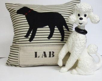 Black Lab Silhouette Pillow, Decorative Black Lab Silhouette Pillow, Stripe Decorative Black Lab SIlhouette Pillow, Home Decor Felt