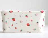 make up bag. small wet bag. strawberries. waterproof. cosmetic bag. organic cotton.
