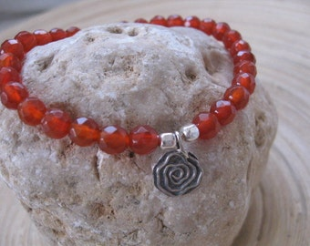 Carnelian Bead Bracelet, Silver Charm Bracelet, Spiral Charm Bracelet, Gemstone bracelet sterling Silver Spiral Charm, Fertility Pendant