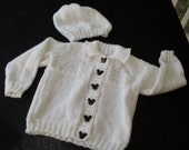 Hand knit baby girl or boy white sweater set
