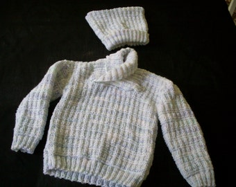Hand knit boy's shawl collar pullover and hat