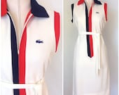 1960s White Lacoste Shift with Tie Waist, Size M