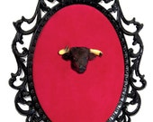 Miniature Bull Head Mount - Faux Taxidermy - Wall Art Decor - Framed Object 7x10in