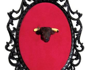 Miniature Bull Head Mount - Faux Taxidermy - Wall Art Decor - Framed Object 7x10in