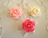 Pink Magnet Set of Three Roses, Cute Fridge Magnets