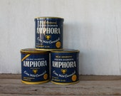 Vintage Amphora Pipe Tobacco Can, Storage, Organization, Blue