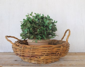 Vintage Wicker Basket, Double Handle, Planter