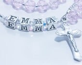 Personalized Rosary Baby's First or Baptism - Light Pink