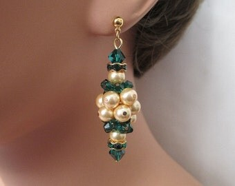Cluster Dangle Earrings: Emerald Green Crystals and Gold Pearls