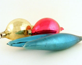 Vintage Mercury Glass Christmas Tree Ornaments West German Oval Icicles Pink Gold Teal Shiny