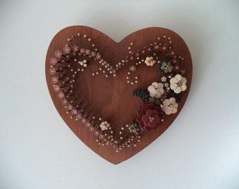 Heart shaped nail art, vintage wall hanging