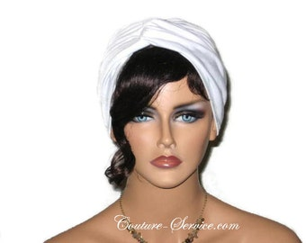 White Turban, Women's,  Handmade, Fashion, Twist, Solid White, Turbin, Turbante, Hat, Full, Head, Hair, Fashionable, Rayon, Designer, Knit