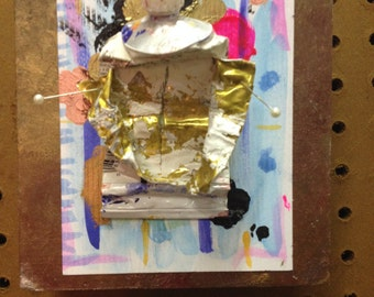 ANATOMY of a Tube of PAINT II - Original mix media painting on recycled cigar box lid