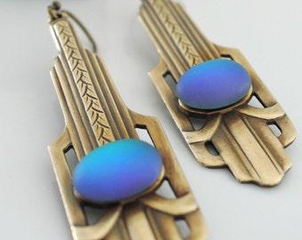 Vintage Earrings - Art Deco Jewelry - Vintage Brass Jewelry - Violet Blue Earrings - handmade jewelry