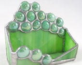 Hand Crafted Stained Glass Business Card Holder - Emerald Green with Jade Green Glass Nuggets