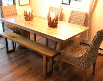 Reclaimed Wood Farm Table, Dining Table, Kitchen Table, Reclaimed Wood Table