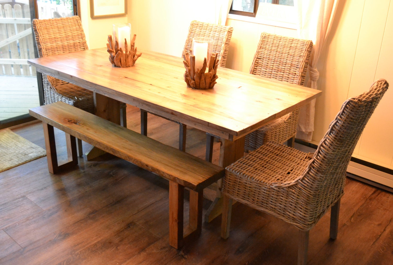 reclaimed wood farm table dining table kitchen table. Black Bedroom Furniture Sets. Home Design Ideas