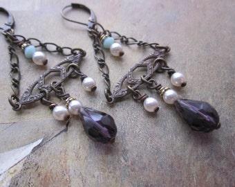 purple brass chandeliere - the umay earrings