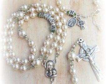 Irish Baby Girl Birthstone Crystal & Personalized Rosary Set