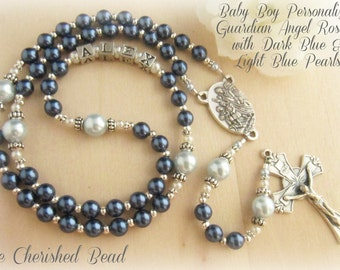 Baby Boy Baptism Guardian Angel Rosary with Dark Blue & Light Blue Pearls