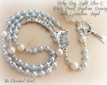 Baby Boy Baptism Personalized Name Light Blue Pearl Rosary with Guardian Angel
