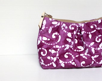 SALE - Lilac Floral Batik Cosmetic Make Up Bag, Travel Make Up Pouch, Cosmetic Case, Zippered Purse