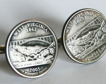 2005 West  Virginia State Quarter Cufflinks by Custom Coin Rings----Jewelry Cuff Links Handmade
