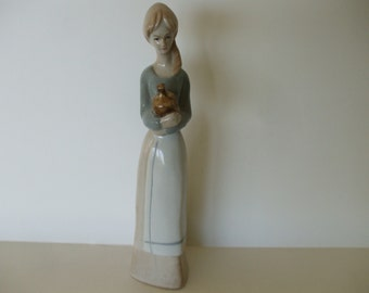 Llado Like Girl Holding Jug Figurine, Vintage,  1970's ,  Nao, Gifts, Home Decor #4793