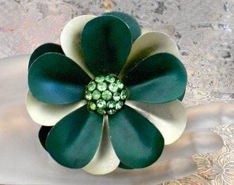 Green Metal Rhinestone Floral Pin