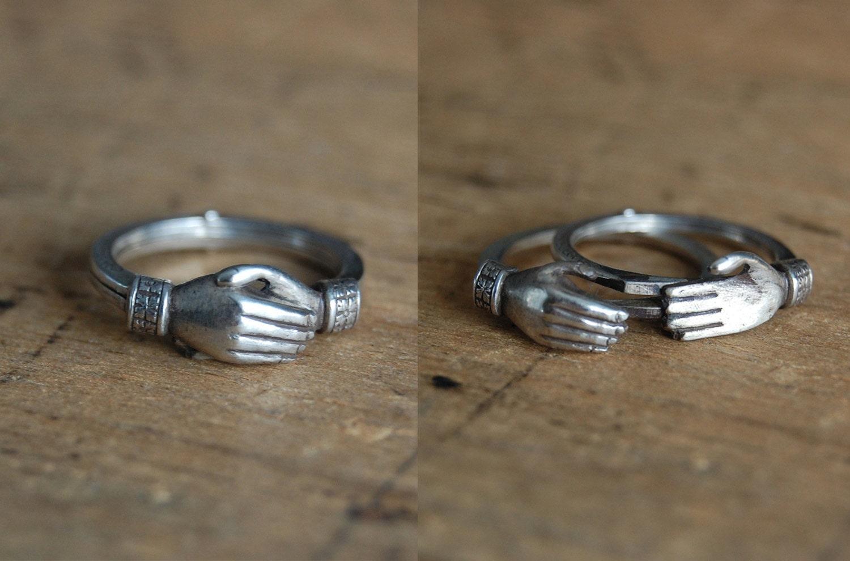 Vintage 1940s Gimmel Fede Ring Fede Hands Ring Sterling