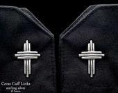 Cross Cuff Links Sterling Silver