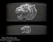 Tiger Head Leather Bracelet Sterling Silver Tiger Head on Leather Bracelet